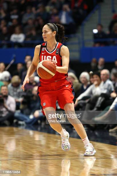 Sue Bird of the USA Women's National Team handles the ball against the UConn Huskies on January 27 2020 at XL Center in Hartford Connecticut NOTE TO...