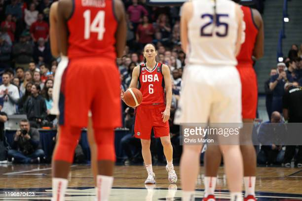 Sue Bird of the USA Women's National Team handles the ball to honor Kobe Bryant with the 24 second shot clock during the game against the UConn...