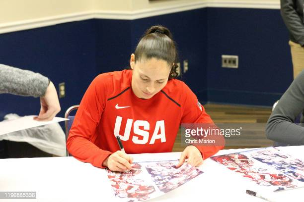 Sue Bird of the USA Women's National Team signs autographs after the game against the UConn Huskies on January 27 2020 at XL Center in Hartford...