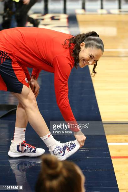 Sue Bird of the USA Women's National Team smiles before the game against the UConn Huskies on January 27 2020 at XL Center in Hartford Connecticut...