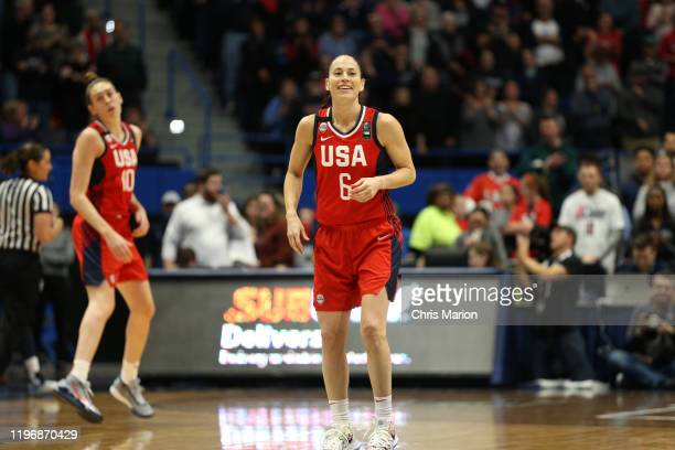 Sue Bird of the USA Women's National Team smiles during the game against the UConn Huskies on January 27 2020 at XL Center in Hartford Connecticut...