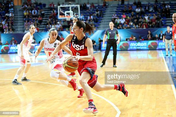 Sue Bird of the Women's Senior US National Team drives against Spain during the finals of the 2014 FIBA World Championships on October 5 2014 in...