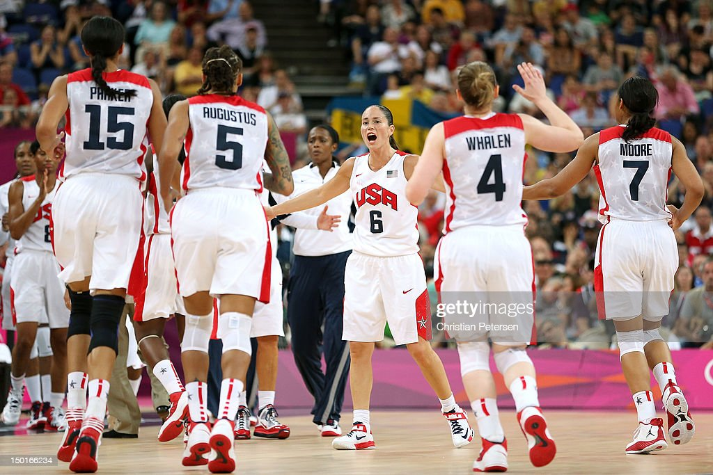 Sue Bird #6 of United States celebrates after a basket in the second half against France during the Women's Basketball Gold Medal game on Day 15 of the London 2012 Olympic Games at North Greenwich Arena on August 11, 2012 in London, England.