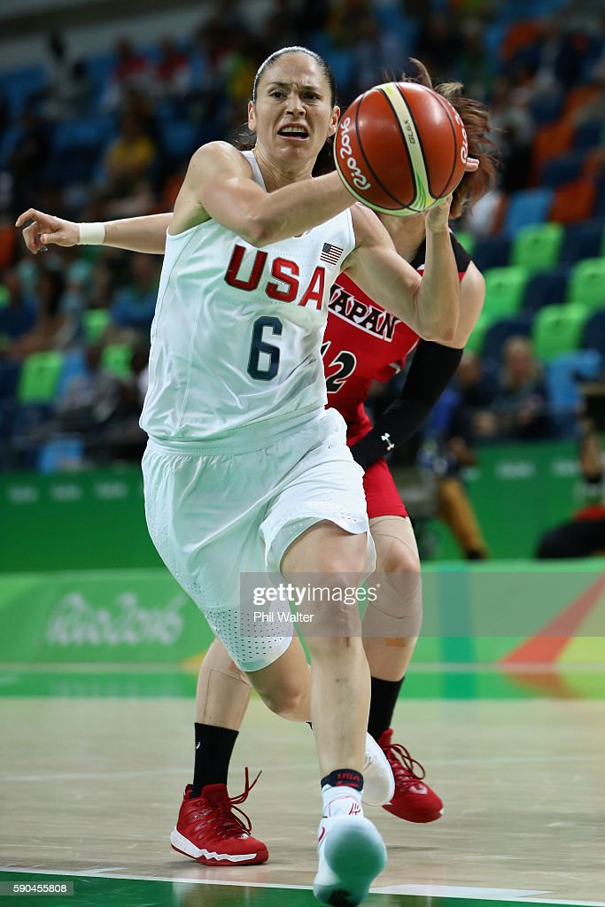 Sue Bird #6 of United States drives to the basket during the Women's Quarterfinal match against Japan on Day 11 of the Rio 2016 Olympic Games at Carioca Arena 1 on August 16, 2016 in Rio de Janeiro, Brazil.