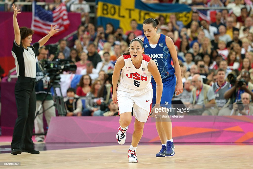 Sue Bird #6 of United States reacts in the third quarter after a made basket against France during the Women's Basketball Gold Medal game on Day 15 of the London 2012 Olympic Games at North Greenwich Arena on August 11, 2012 in London, England.