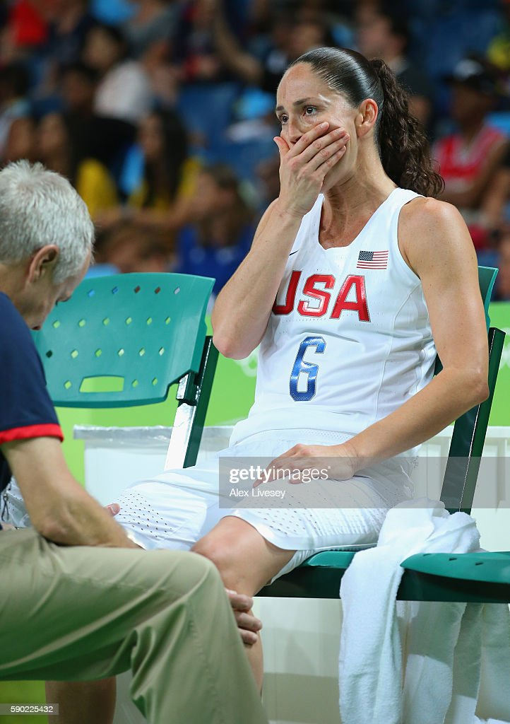 Sue Bird #6 of United States reacts to an injury during the Women's Quarterfinal match against Japan on Day 11 of the Rio 2016 Olympic Games at Carioca Arena 1 on August 16, 2016 in Rio de Janeiro, Brazil.