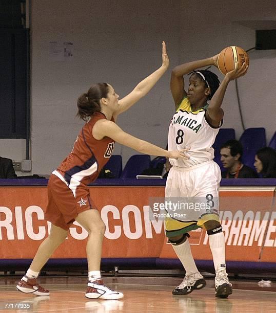 Sue Bird of USA blocks Rashida Aikens of Jamaica during the Womens FIBA Americas Championship at the Arena on September 27 2007 in Valdivia Chile...