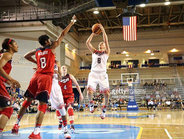 Sue Bird shoots the ball during the Women's Senior US National Team Red vs White game on September 11 2014 in Newark DE NOTE TO USER User expressly...