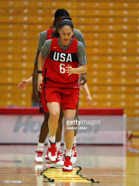 Sue Bird warms up during a United States practice session at Chase Arena on January 26 2020 in West Hartford Connecticut