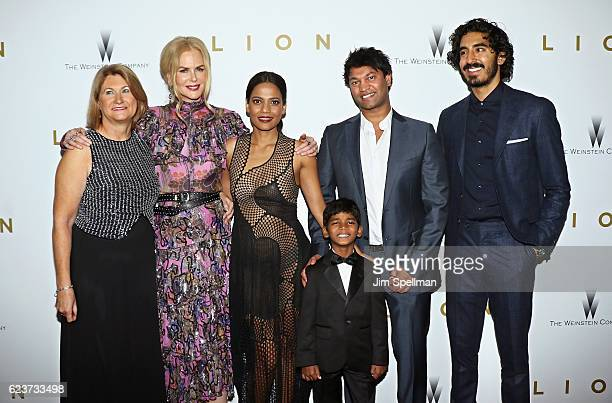 Sue Brierley actors Nicole Kidman Priyanka Bose Sunny Pawar Saroo Brierley and actor Dev Patel attend the Lion New York premiere at Museum of Modern...