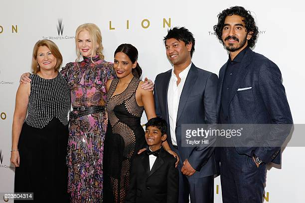 Sue Brierley actors Nicole Kidman Priyanka Bose Sunny Pawar Saroo Brierley and actor Dev Patel attend the 'Lion' New York premiere at Museum of...