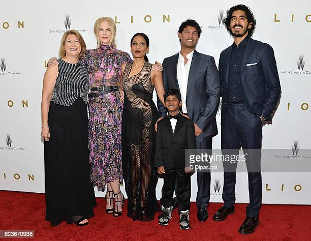 Sue Brierley Nicole Kidman Priyanka Bose Sunny Pawar Saroo Brierley and Dev Patel attend the Lion premiere at Museum of Modern Art on November 16...