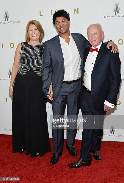 Sue Brierley Saroo Brierley and John Brierley attend the Lion premiere at Museum of Modern Art on November 16 2016 in New York City
