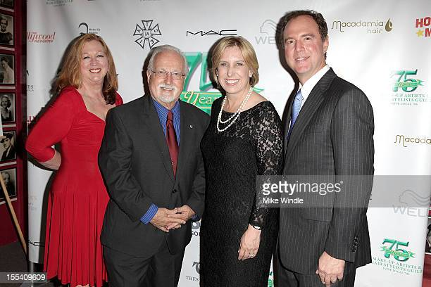 Sue CabralEbert Tommy Cole Wendy Greuel and Adam Schiff arrive at The MakeUp Artists And Hair Stylists Guild 75th Anniversary Gala at The Hollywood...