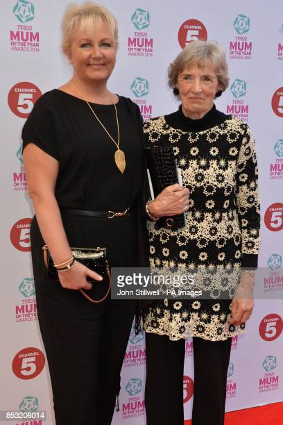 Sue Cleaver and guest arriving at Tesco Mum of the Year Awards celebrating Britain's most inspirational mothers at The Savoy Hotel Strand in central...