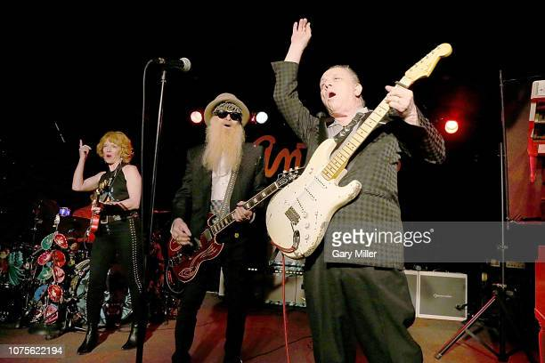 Sue Foley Jimmie Vaughan and Billy Gibbons perform in concert during The Jungle Show IV at Antone's on December 28 2018 in Austin Texas