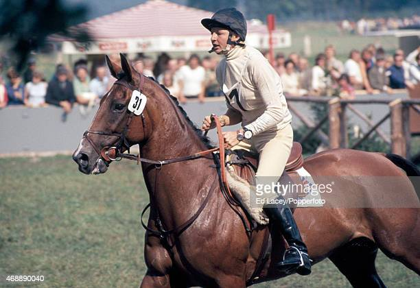 Sue Hatherley of Great Britain riding Harley during the CrossCountry section of the European ThreeDay Eventing Championship at Luhmuhlen circa...