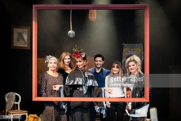 "Sue Johnston, Samantha Giles, Catherine Tyldesley, Stephen Rahman-Hughes, Paula Lane, Jodie Prenger pose on stage during the ""The Ceremony""..."