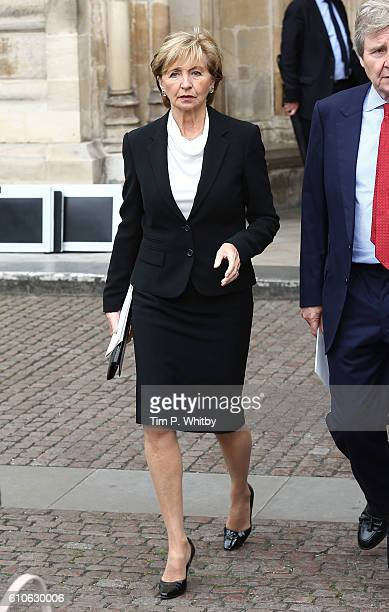 Sue Lawley departs after attending a memorial service for the late Sir Terry Wogan at Westminster Abbey on September 27 2016 in London England