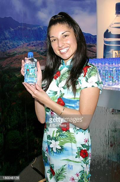 Sue Lynn Sanchez Fiji Water spokesmodel during MercedesBenz Fashion Week Spring 2004 Fiji Water Bar at Bryant Park in New York City New York United...