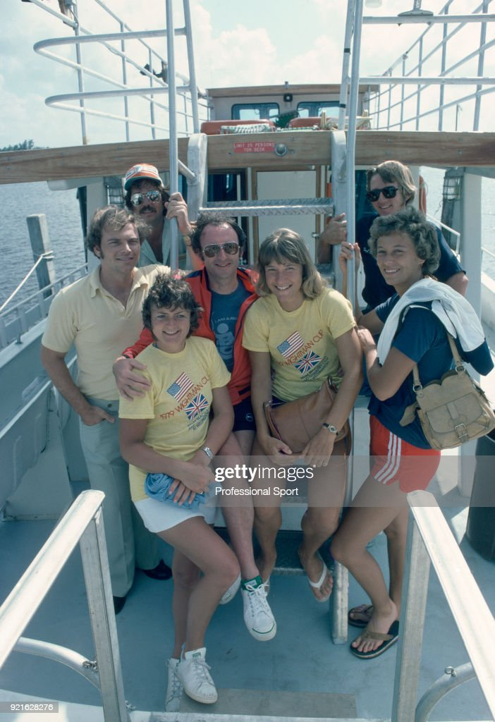Sue Mappin (front left) and Jo Durie of Great Britain (front right) on a boat during the Wightman Cup at West Palm Beach in Florida, USA circa November 1979.