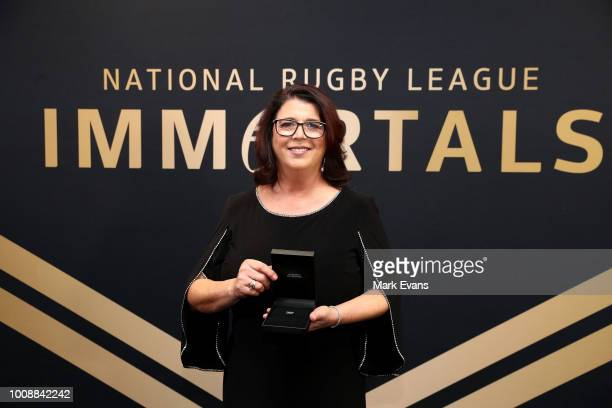 Sue McLeod daughter of Norm Provan accepted his award as the 12th Immortal at the 2018 NRL Hall of Fame at Sydney Cricket Ground on August 1 2018 in...