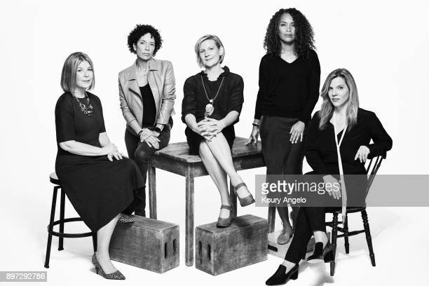 Sue Naegles Mara Brock Akil Stephanie Allain Kim Masters Krista Vernoff Terry Press are photographed for The Hollywood Reporter on October 28 2017 in...