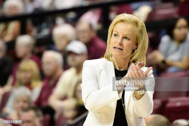 Sue Semrau women's basketball head coach Florida State University Seminoles applauds a good play in the Atlantic Coast Conference matchup with the...