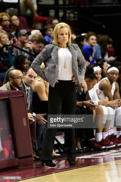 Sue Semrau women's basketball head coach Florida State University Seminoles watches from the sideline during the Atlantic Coast Conference match-up...