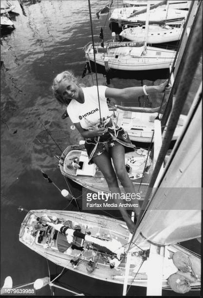 Sue Strachan Co owner of the Victorian Sloop Mary Blair makes last minute adjustments prior to the raceSue is a crew member during the race and the...
