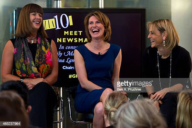 Sue Turton Jayne Secker and Emily Maitlis attends the #Grazia10 talk 'News at 10' with Christina Lamb Jayne Secker Sue Turton Emily Maitlis and...