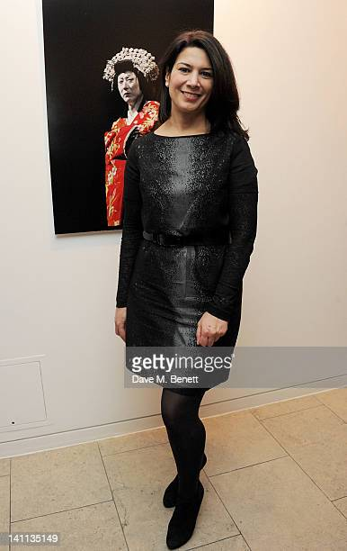 Sue Walter attends a private view of 'Kabuki One Year On' a photographic exhibition by Frederic Aranda to benefit the Japan Society Tohou Earthquake...