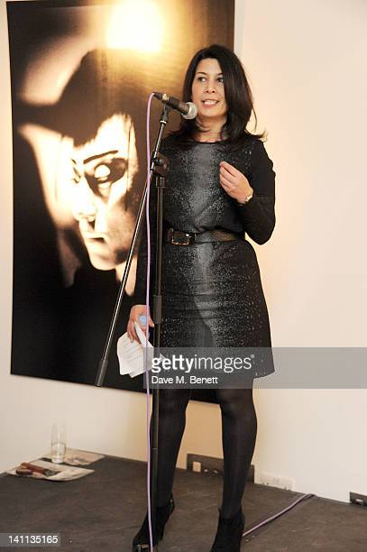 Sue Walter speaks at a private view of 'Kabuki One Year On' a photographic exhibition by Frederic Aranda to benefit the Japan Society Tohou...