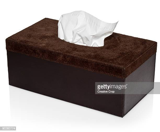 Suede box with paper handkerchief / tissues