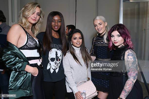 Suede Brooks Natasha Ndlovu Kaushal Beauty InTheFrow and Helen Anderson attend Beautycon Festival London 2016 at Olympia London on December 3 2016 in...