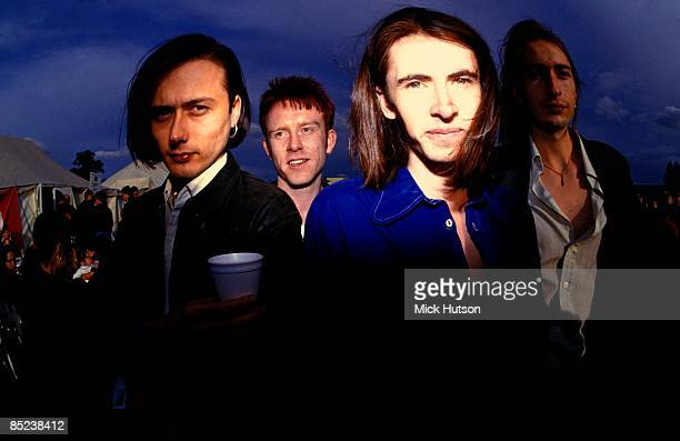 Suede group portrait, backstage at Reading Festival, 29th August 1992, L-R Brett Anderson, Simon Gilbert, Bernard Butler, Mat Osman.
