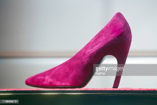 suede high heel side view - suede shoe stock pictures, royalty-free photos & images