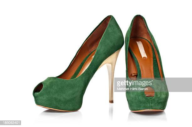 suede leather's shoes - high heels stock pictures, royalty-free photos & images