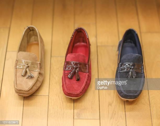 suede (suède) shoe color variations, tricolor - suede shoe stock pictures, royalty-free photos & images