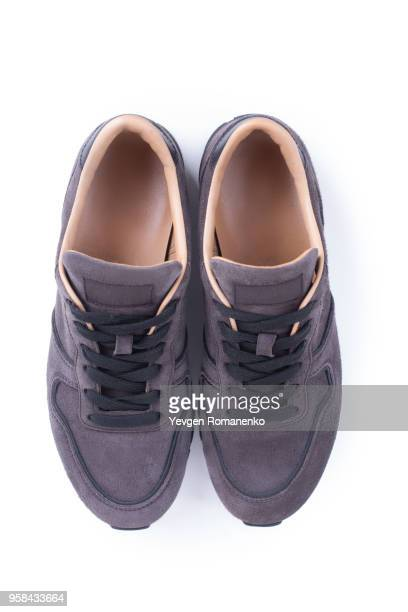 Suede sneakers isolated on white background