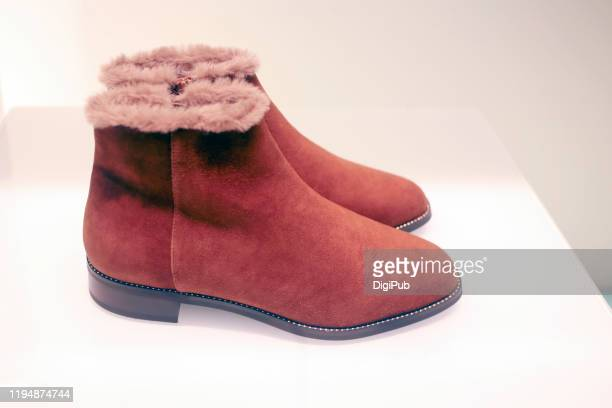 suede warm shoes - suede shoe stock pictures, royalty-free photos & images