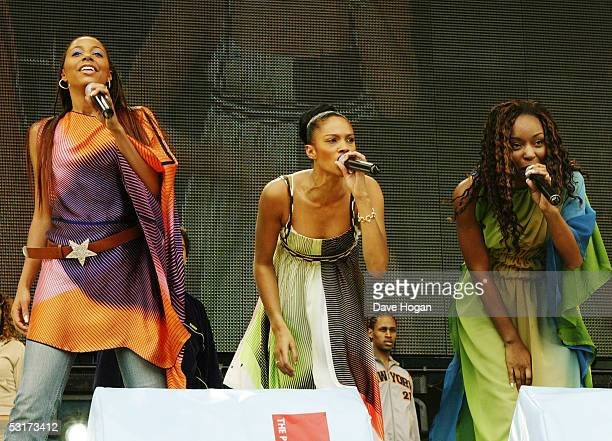 SuElise Nash Alesha Dixon and Sabrina Washington from Misteeq performs on stage during Capital FM's Party in the Park 2002 in Hyde Park London on the...