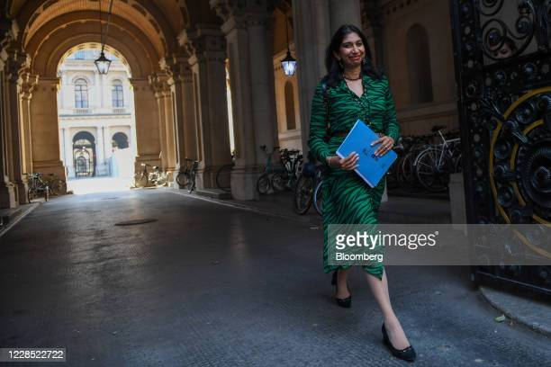 Suella Braverman, U.K. Attorney general, departs from a meeting of cabinet ministers in London, U.K., on Tuesday, Sept. 15, 2020. U.K. Prime Minister...