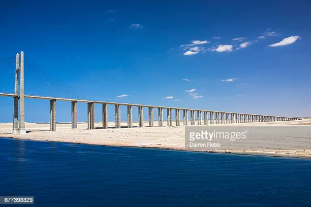 suez canal bridge, suez canal, egypt - suez canal stock pictures, royalty-free photos & images