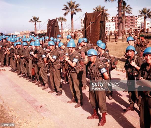 Suez Canal Crisis Egypt A UN troop contingent arrive to restore order to Port Said during the troubles