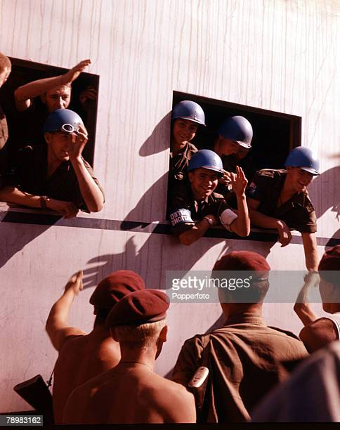 Suez Canel Crisis Egypt A UN troop contingent arrives in Port Said by train to restore order during the troubles