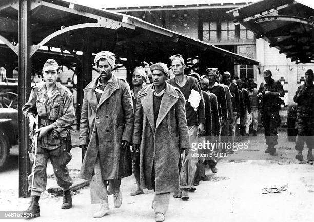 Suez Crisis Anglo - French intervention in the Suez area French soldiers with Egyptian captives in Port Fouad .