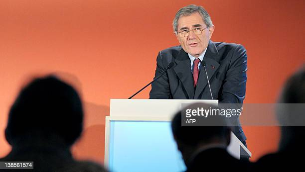 Suez head Gerard Mestrallet talks during a press conference to present the group 2011 Full Year results on February 9, 2012 in Paris . AFP PHOTO ERIC...