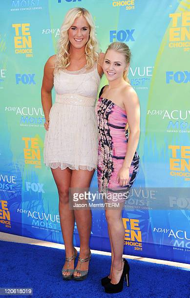 Sufer Bethany Hamilton and actress AnnaSophia Robb arrive at the 2011 Teen Choice Awards held at the Gibson Amphitheatre on August 7 2011 in...