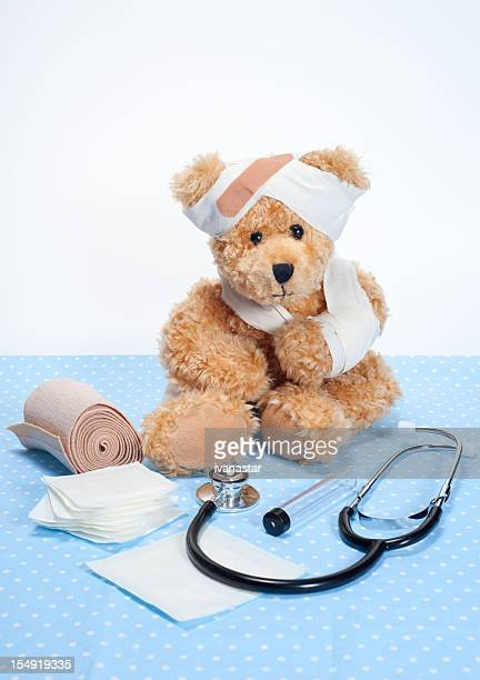 Suffering Sick Sweet Teddy Bear in Hospital